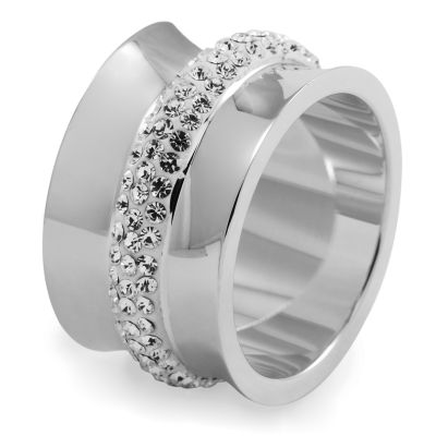 Ladies Folli Follie Stainless Steel Size P Dazzling Ring 5045.4801