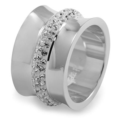 Ladies Folli Follie Stainless Steel Size L.5 Dazzling Ring 5045.4800