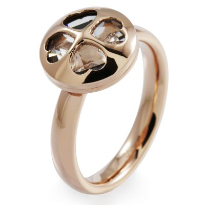 Ladies Folli Follie PVD rose plating Size P H4H Win Ring 5045.4955