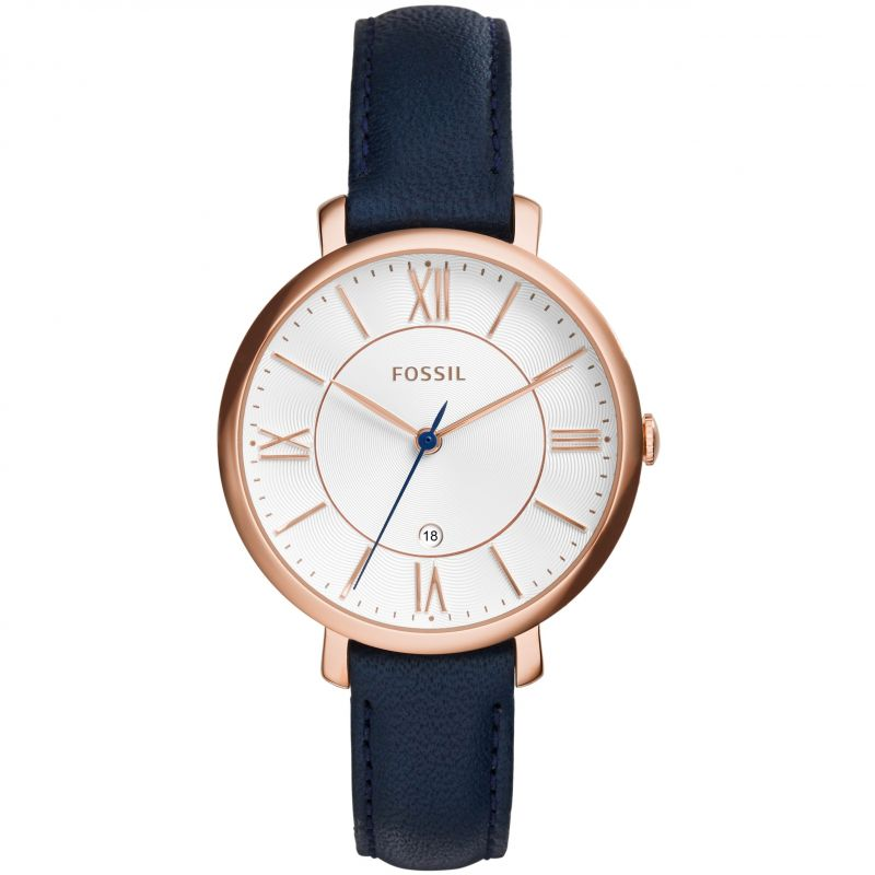 Ladies Fossil Jacqueline Navy Leather Watch ES3843