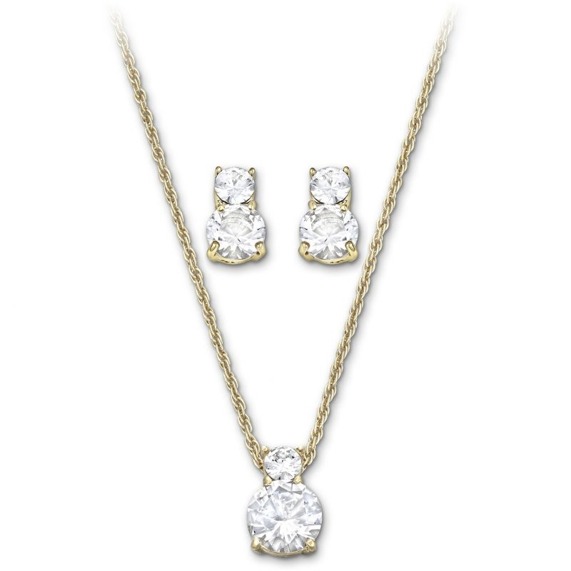 Ladies Swarovski PVD Gold plated Brilliance Necklace Earring Set 1179712