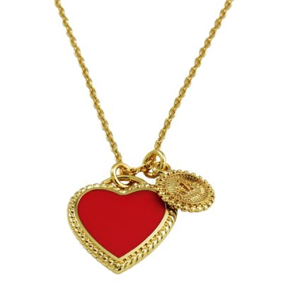 Ladies Juicy Couture PVD Gold plated Enamel Heart Wish Necklace WJW381-710