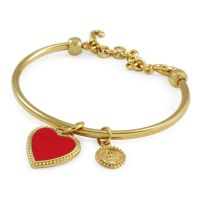 Ladies Juicy Couture PVD Gold plated Enamel Heart Slider Bangle WJW383