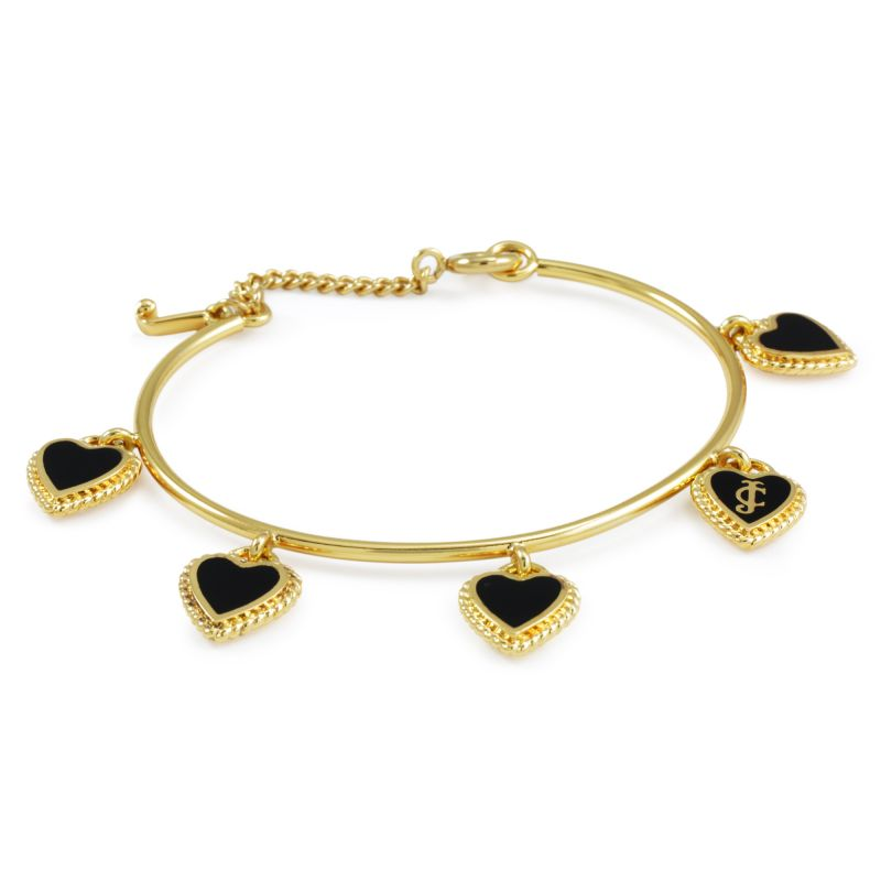 Ladies Juicy Couture PVD Gold plated Enamel Hearts Charm Bangle WJW363-001