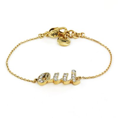 Ladies Juicy Couture PVD Gold plated Pave Oui Wish Bracelet WJW434-710