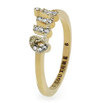 Damen Juicy Couture Size L.5 Pave Oui Ring PVD vergoldet WJW443-6-710