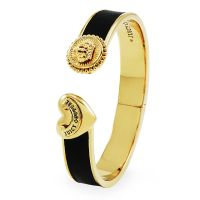 Ladies Juicy Couture PVD Gold plated Heart And Coin Leather Hinged Bangle WJW461-001