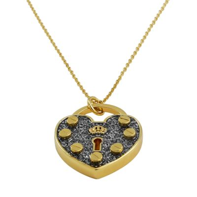Juicy Couture Dames Pave Heart Padlock Wish Necklace PVD verguld Goud WJW526-710