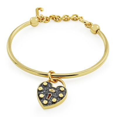 Juicy Couture Dam Pave Heart Padlock Slider Bangle PVD guldpläterad WJW516-710