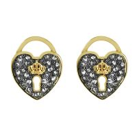 Ladies Juicy Couture PVD Gold plated Pave Heart Padlock Stud Earrings WJW529-710