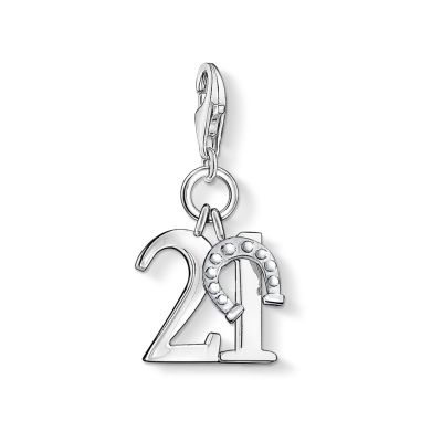 Thomas Sabo Dam Charm Club Lucky Number 21 Charm Sterlingsilver 0460-001-12