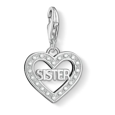Ladies Thomas Sabo Sterling Silver Charm Club Sister Charm 1266-051-14