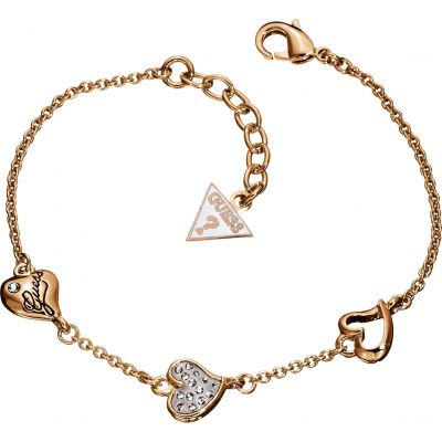 Ladies Guess Triple Heart Rose Gold Bracelet UBB71332