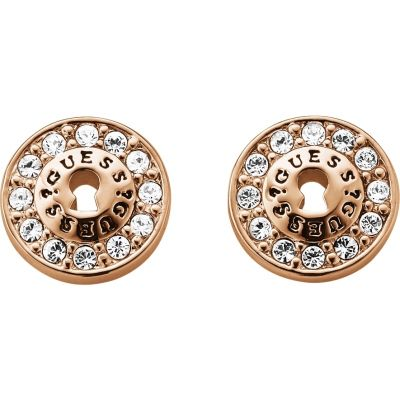 Ladies Guess All Locked Up Rose Gold Earrings