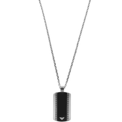 Mens Emporio Armani Stainless Steel Dog Tag Necklace EGS1921040