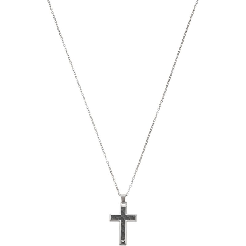 Mens Emporio Armani Stainless Steel Cross Necklace EGS1705040