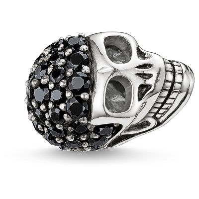 Ladies Thomas Sabo Sterling Silver Karma Beads - Pave Skull Bead K0065-051-11