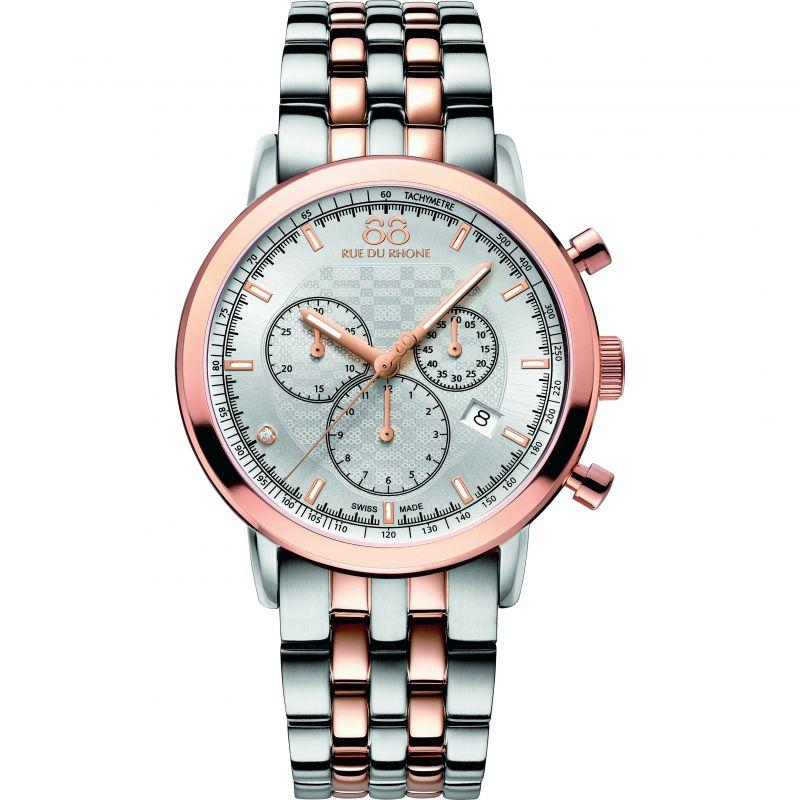 Mens 88 Rue Du Rhone Double 8 Origin Chronograph Diamond Watch