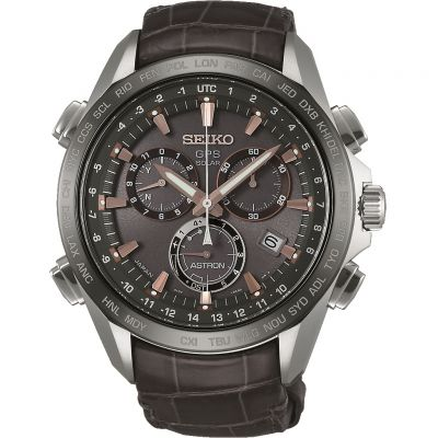 Mens Seiko Astron GPS Titanium Chronograph Solar Powered Watch SSE023J1