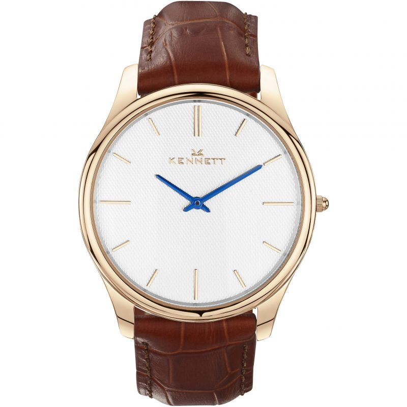 Mens Kennett Kensington Rose Gold White Light Brown Watch