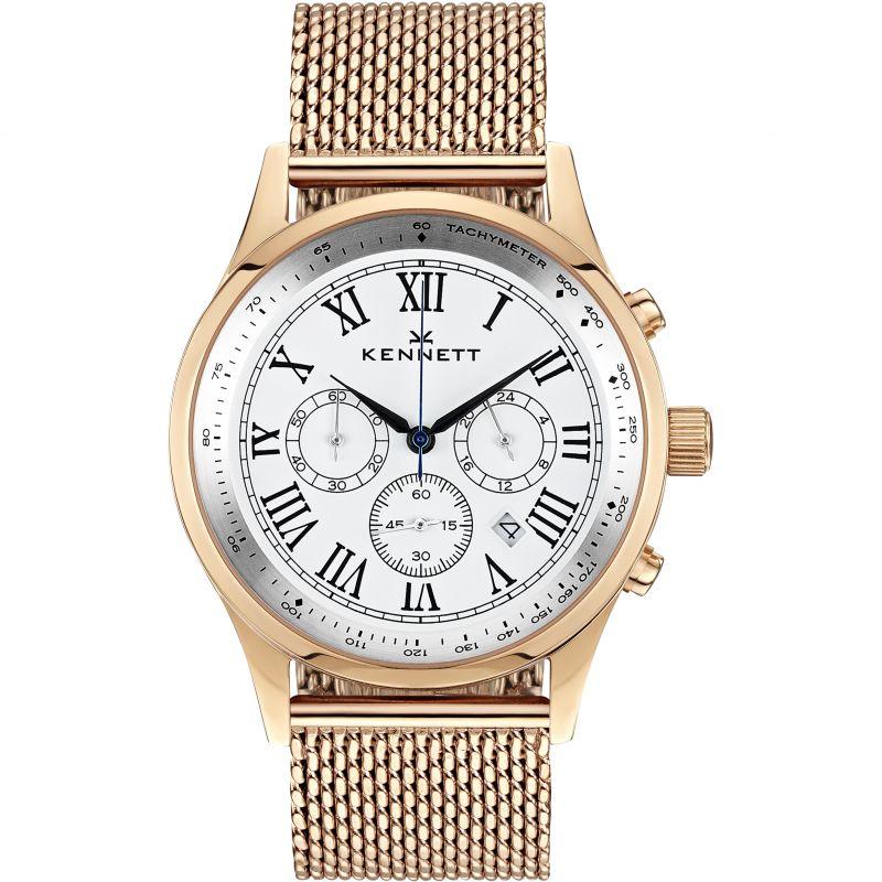 Mens Kennett Savro Gold White Milanese Chronograph Watch