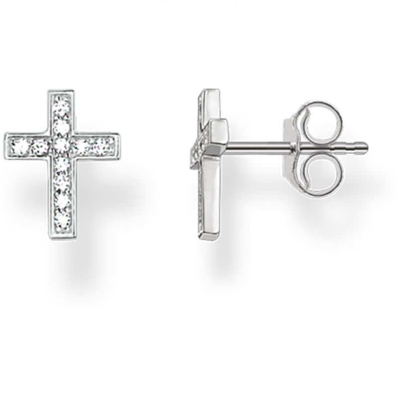 Ladies Thomas Sabo Sterling Silver Glam & Soul Cross Stud Earrings H1880-051-14