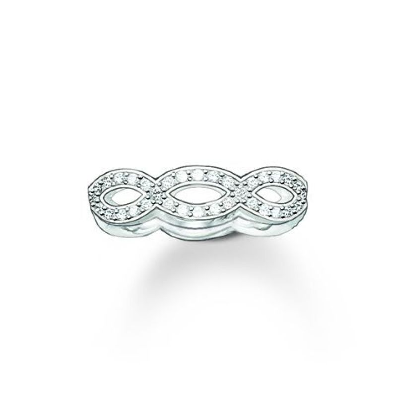 Ladies Thomas Sabo Sterling Silver Size P.5 Glam & Soul White Love Knot Ring