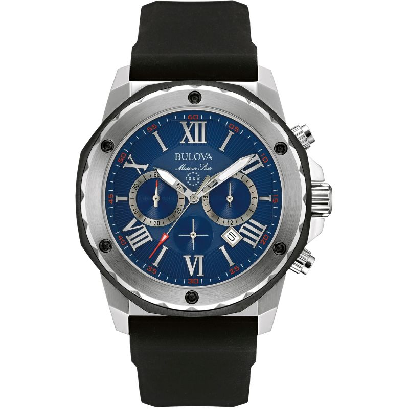 Mens Bulova Quartz Marine Star Chronograph Stainless Steel Watch 98B258