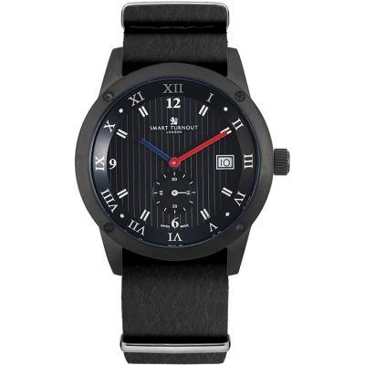Smart Turnout Town Town Watch with Black Leather Nato Strap Herrenuhr in Schwarz STE2/56/W-BL