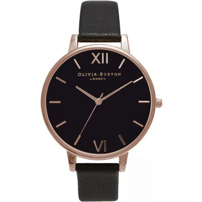 Black Dial Rose Gold & Black Watch