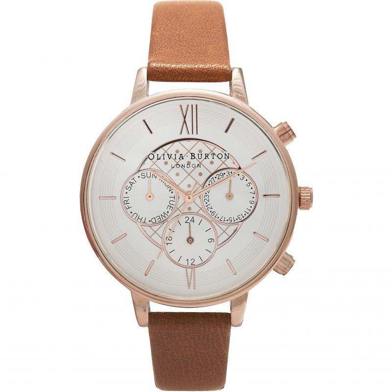 Chrono Detail Silver Rose Gold & Tan Watch