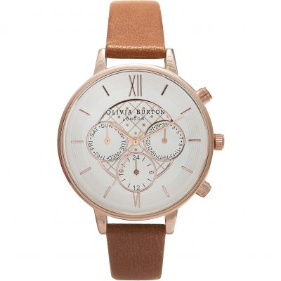 Olivia Burton Chrono Detail Chrono Detail Rose Gold & Tan Damenchronograph in Beige OB15CG68