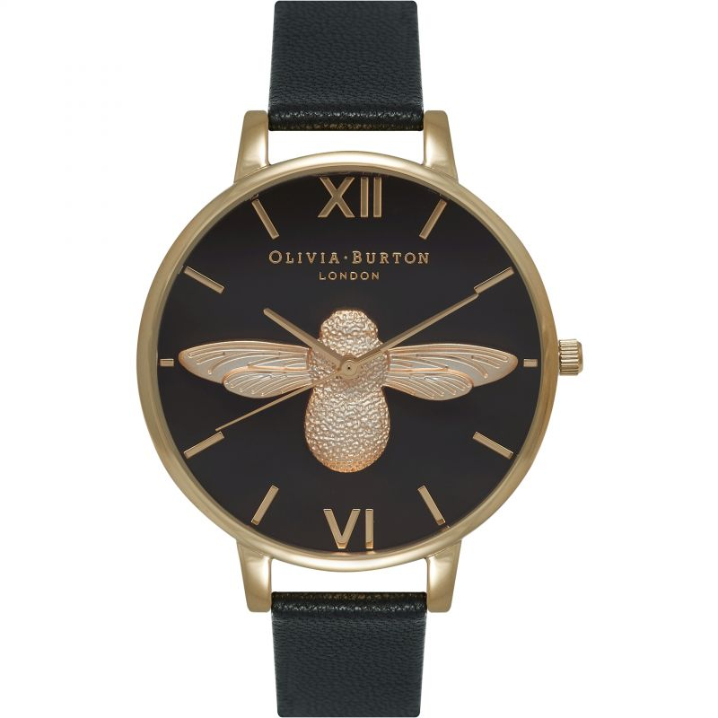 Image of            3D Bee Black & Gold Watch