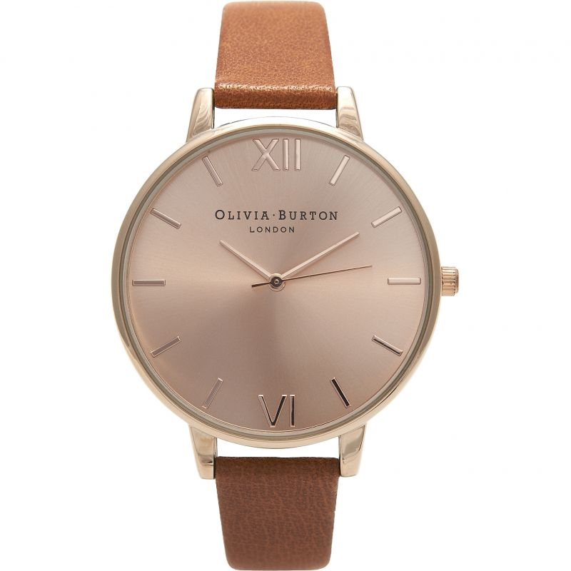 Sunray Rose Gold & Tan Watch