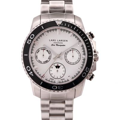 Mens Lars Larsen Chronograph Watch 140SSCSB