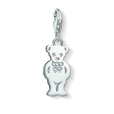 Thomas Sabo Dames Charm Club Anniversary Teddy Bear Diamond Charm Pendant Sterling Zilver DC0023-725-14