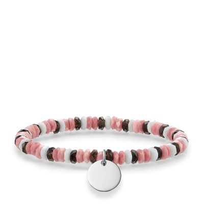 Damen Thomas Sabo Love Bridge Boho Hot Pink Armband Sterling-Silber LBA0026-833-7-L15.5
