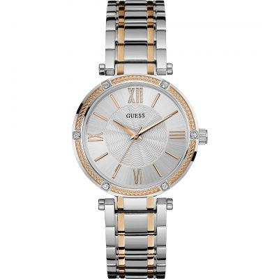 GUESS Ladies silver watch with rose gold detailing