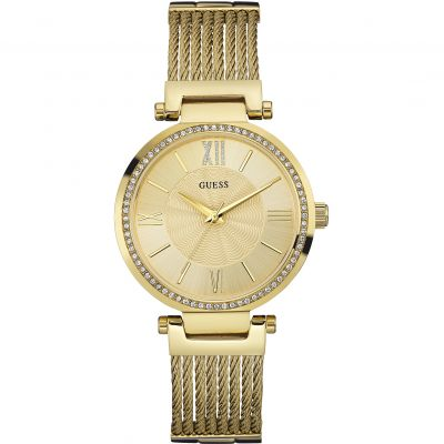 GUESS Ladies gold watch with wire bracelet
