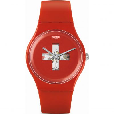 Swatch Originals New Gent Around The Clock Unisexuhr in Rot SUOR106
