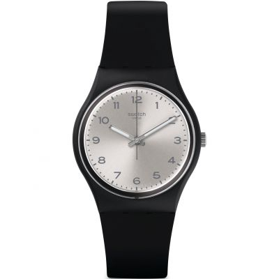 Swatch Original Gent Silver Friend Too Unisexuhr in Schwarz GB287