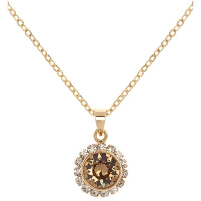 Ladies Ted Baker PVD Gold plated Sela Crystal Chain Pendant Necklace TBJ1020-02-96