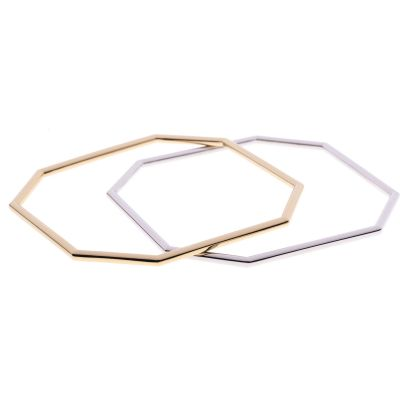 Ladies Karen Millen Two-tone steel/gold plate Octagon Double Bangle KMJ855-23-03