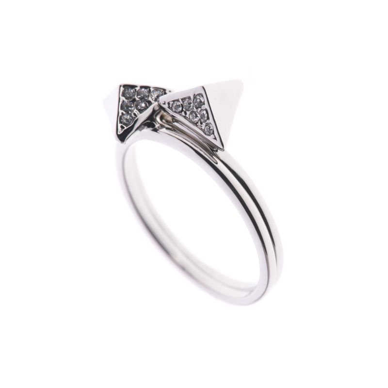 Ladies Karen Millen PVD Silver Plated Double Arrow Ring Large KMJ864-01-02L