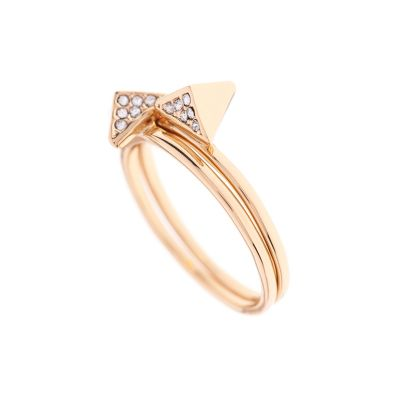 Karen Millen Dames Double Arrow Ring Large PVD verguld Goud KMJ864-22-23L