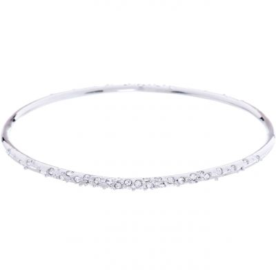 Ladies Karen Millen PVD Silver Plated Crystal Sprinkle Bangle Sm KMJ603-01-02SM