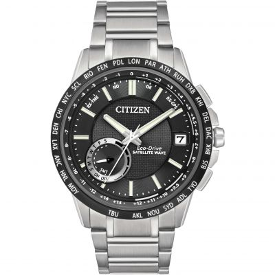 Mens Citizen Satellite Wave-World Time GPS Eco-Drive Watch CC3005-85E