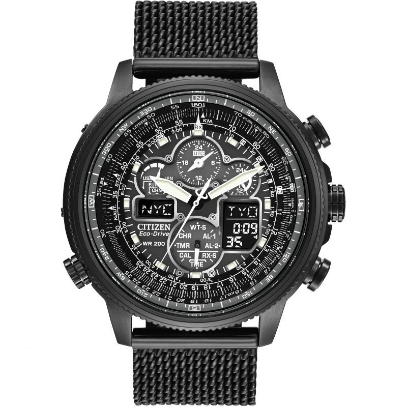 Mens Citizen Navihawk AT Alarm Chronograph Radio Controlled Eco-Drive Watch