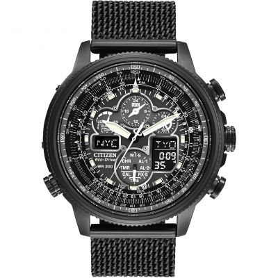 Mens Citizen Navihawk AT Alarm Chronograph Radio Controlled Eco-Drive Watch JY8037-50E