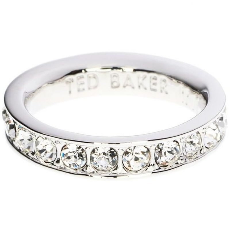 Ladies Ted Baker Silver Plated Claudie Narrow Crystal Band Ring Sm TBJ1051-01-02SM